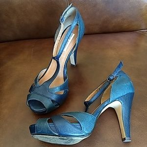 Turquoise T-Strap Peep-toe Leather Pumps